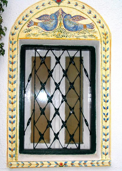 Greece Greeting Card featuring the photograph Greece Decorative Window by Yvonne Ayoub