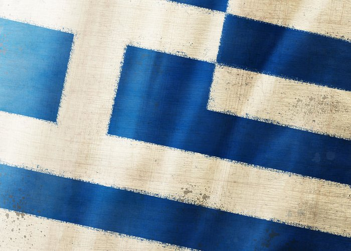 Chalk Greeting Card featuring the photograph Greece Flag by Setsiri Silapasuwanchai