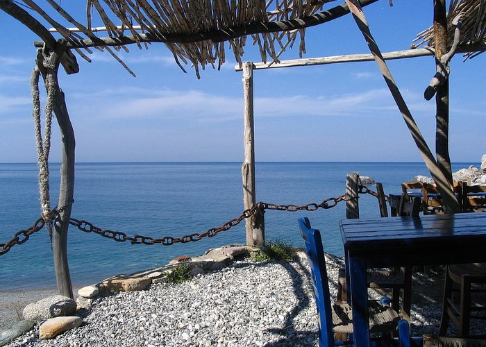 Greece Greeting Card featuring the photograph Greece Skiathos Kastro Taverna by Yvonne Ayoub