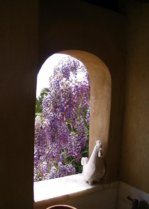 Greece Greeting Card featuring the photograph Greece Wisteria Through Arched Window by Yvonne Ayoub