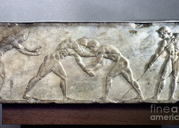 Ancient Greeting Card featuring the photograph Greece: Wrestlers by Granger