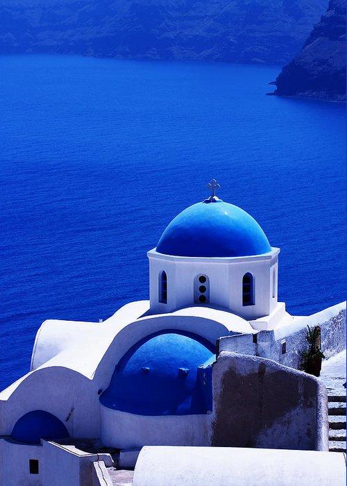 Santorini Greeting Card featuring the photograph Greek Blue Vertical by Paul Cowan