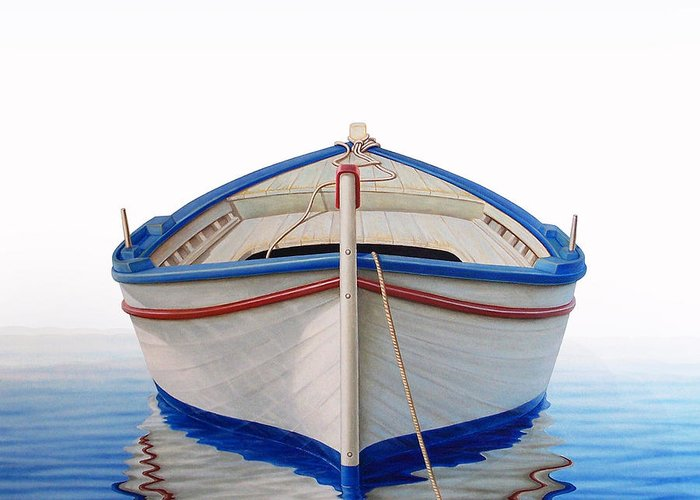 Fishing Greeting Card featuring the painting Greek Boat by Horacio Cardozo