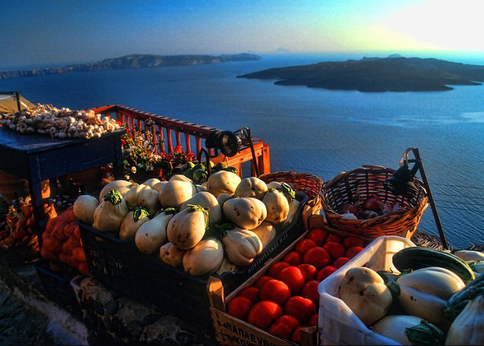 Europe Greeting Card featuring the photograph Greek Food At Santorini by David Smith