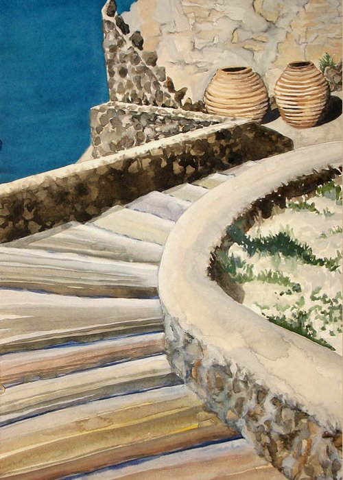 Watercolor Greeting Card featuring the painting Greekscape 3 by Caron Sloan Zuger