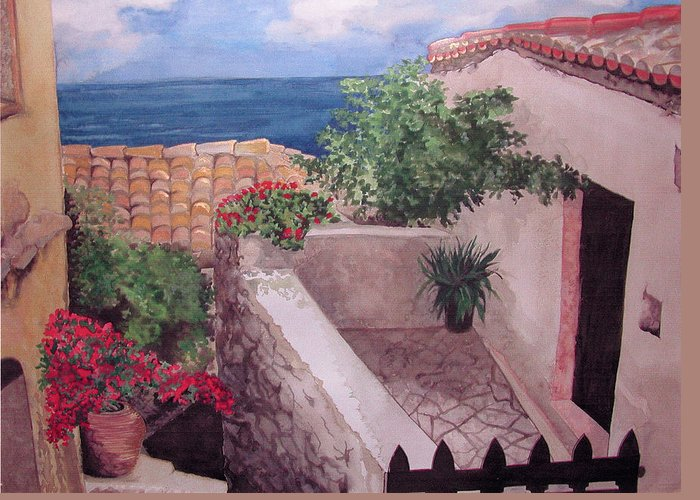 Greece Greeting Card featuring the painting Greekscape by Caron Sloan Zuger