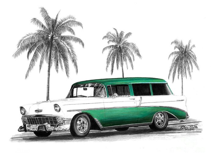1957 Chevrolet Wagon Greeting Card featuring the drawing Green 56 Chevy Wagon by Peter Piatt