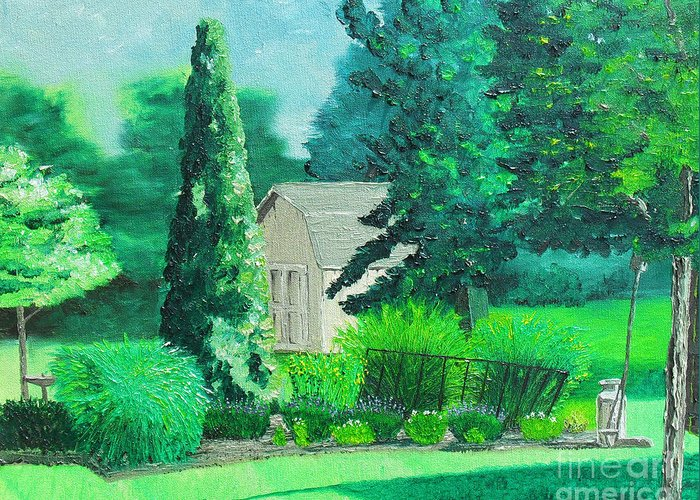 Landscape Greeting Card featuring the painting Green And Growing by Joseph Palotas