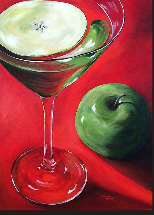 Martini Greeting Card featuring the painting Green Apple Martini by Torrie Smiley