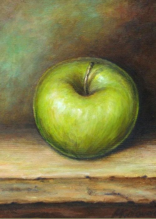 Apple Greeting Card featuring the painting Green Apple by Mirjana Gotovac