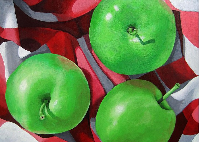 Apples Greeting Card featuring the painting Green Apples still life painting by Linda Apple