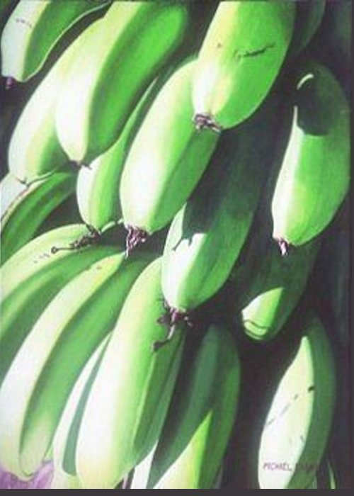 Hyperrealism Greeting Card featuring the painting Green Bananas I by Michael Earney