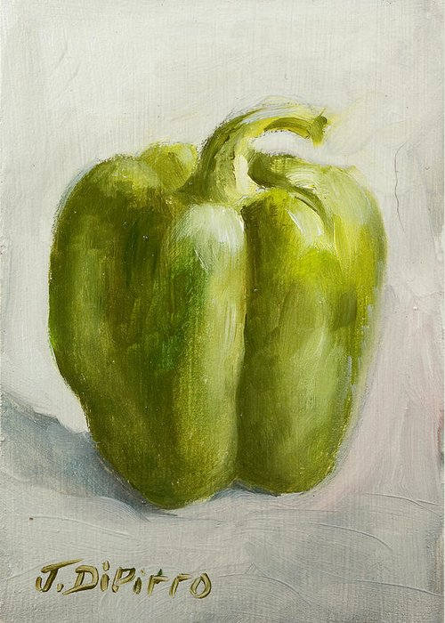 Green Greeting Card featuring the painting Green Bell Pepper by Joni Dipirro