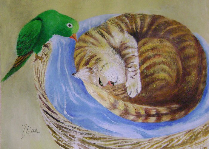 Fantasy Greeting Card featuring the painting Green Bird by Lian Zhen