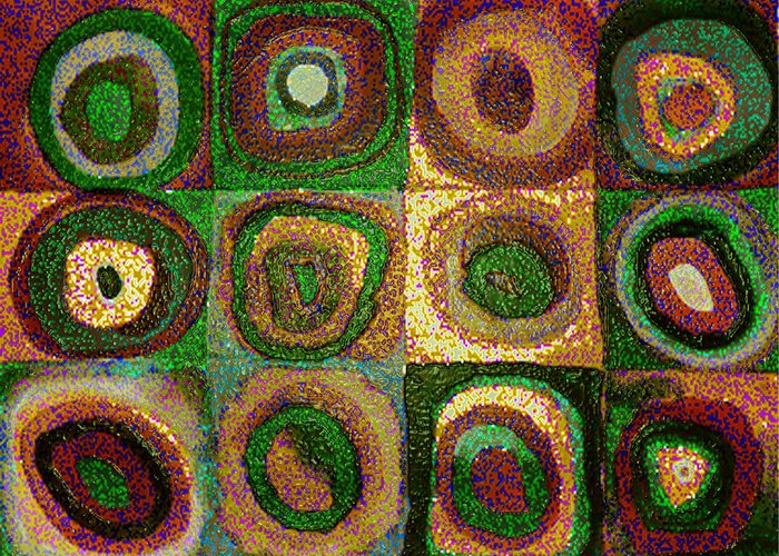 Digital Greeting Card featuring the painting Green Circles by Vicky Brago-Mitchell