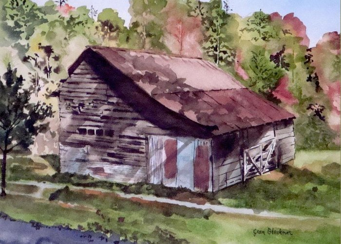 Barns Greeting Card featuring the painting Green Creek Barn by Jean Blackmer