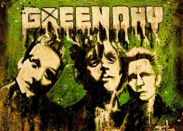 Greenday Rock Band Music Pop Art Modern Garage Greeting Card featuring the painting Green Day by Christopher Chouinard