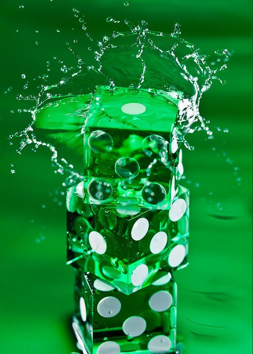 Dice Greeting Card featuring the photograph Green Dice Splash by Steve Gadomski