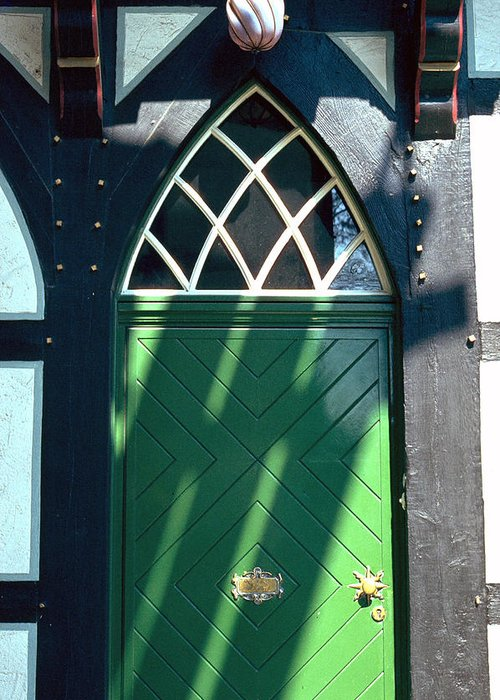 Green Greeting Card featuring the photograph Green Door by Flavia Westerwelle