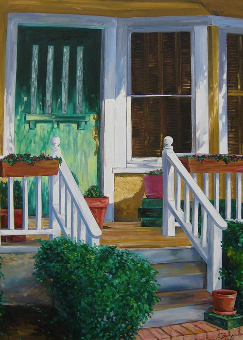 Green Greeting Card featuring the painting Green Door by Karen Doyle