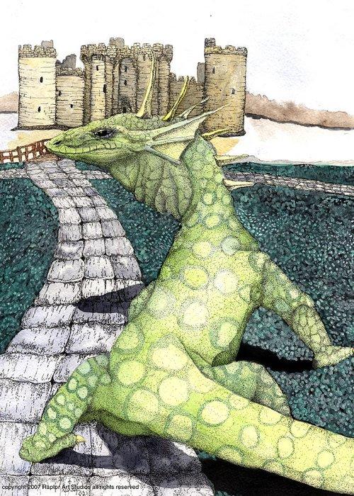 Dragon Moniter Lizard Dragon Draco Greeting Card featuring the mixed media Green Dragon by Preston Shupp