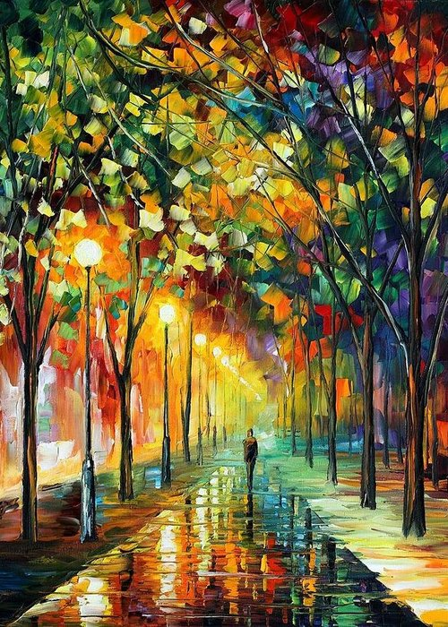 Afremov Greeting Card featuring the painting Green Dreams by Leonid Afremov