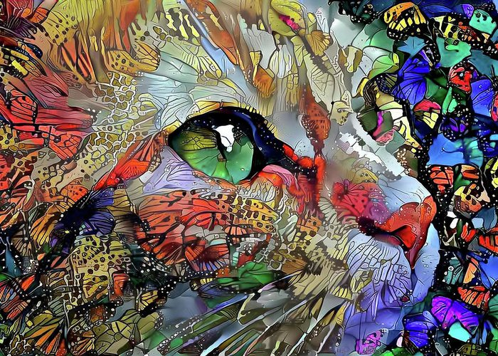 Cat Greeting Card featuring the digital art Green Eyed Orange Cat Dreaming by Peggy Collins
