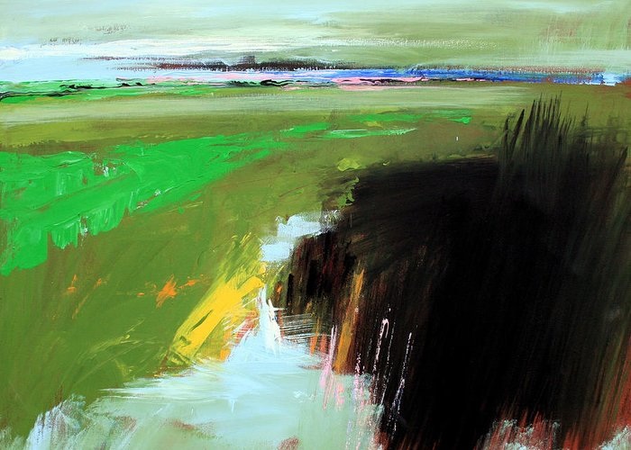 Abstract Landscape Greeting Card featuring the painting Green Field by Mario Zampedroni