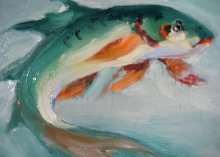 Fish Greeting Card featuring the painting Green Fish by Susan Jenkins