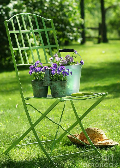 Afternoon Greeting Card featuring the digital art Green Garden Chair by Sandra Cunningham