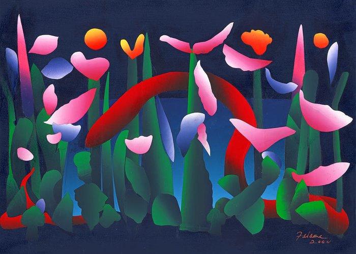 Silkscreen Collage Greeting Card featuring the mixed media Green Garden by Ken Falana