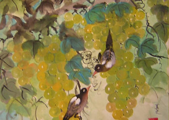 Water Colour Greeting Card featuring the painting Green Grapes And Brown Birds by Lian Zhen