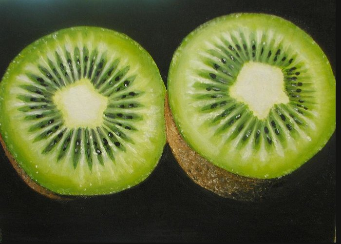 Kiwi Greeting Card featuring the painting Green Kiwi Oil Painting by Natalja Picugina