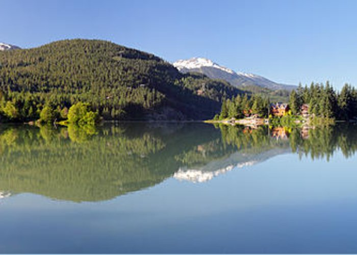 Green Greeting Card featuring the photograph Green Lake Whistler Panorama by Pierre Leclerc Photography