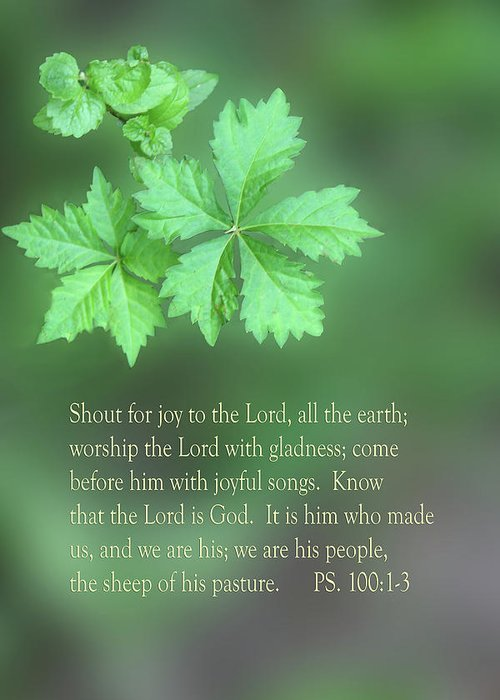 Scripture Greeting Card featuring the photograph Green Leaves Ps.100 V 1-3 by Linda Phelps