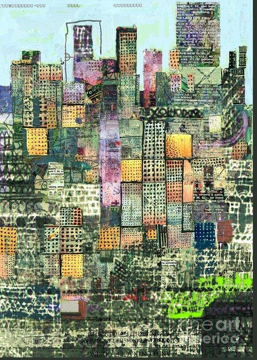 Urban Art Greeting Card featuring the digital art Green Metropolis by Andy Mercer