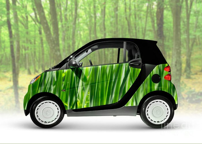 Smart Greeting Card featuring the photograph Green Mini Car by Maxim Images Prints