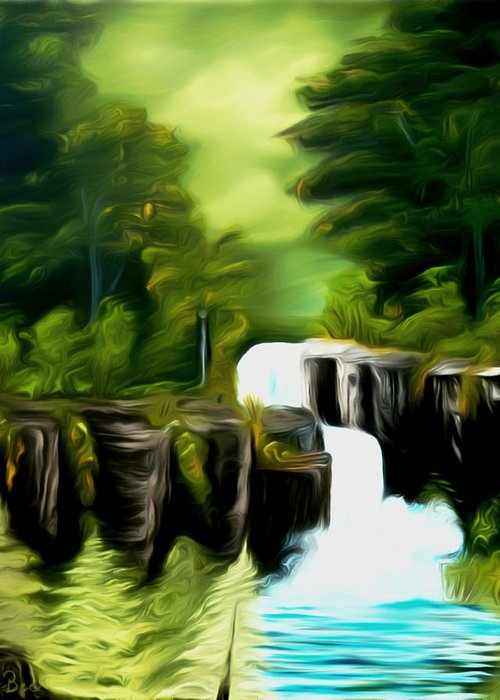 Green Mist Greeting Card featuring the painting Green Mist Fantasy Falls Dreamy Mirage by Claude Beaulac