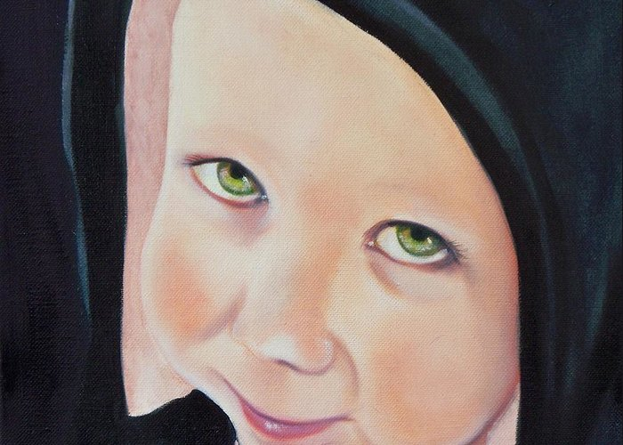 Portrait Greeting Card featuring the painting Green Munchkin by Joni McPherson