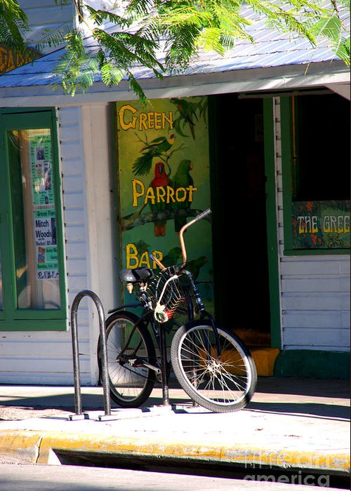 Key West Greeting Card featuring the photograph Green Parrot Bar Key West by Susanne Van Hulst