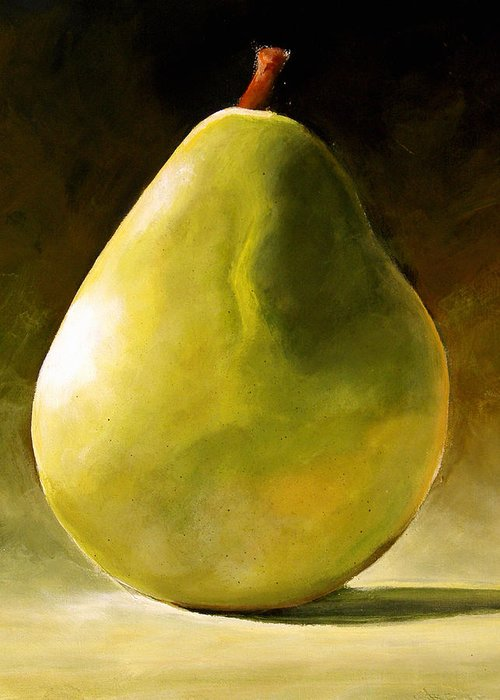 Green Greeting Card featuring the painting Green Pear by Toni Grote