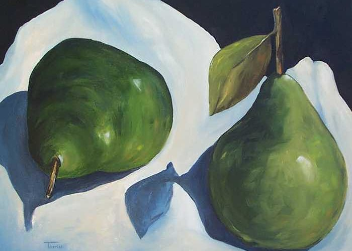 Green Pears Greeting Card featuring the painting Green Pears On Linen - 2007 by Torrie Smiley