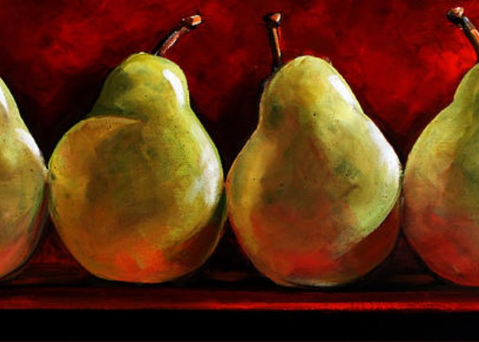 Pears Greeting Card featuring the painting Green Pears On Red by Toni Grote
