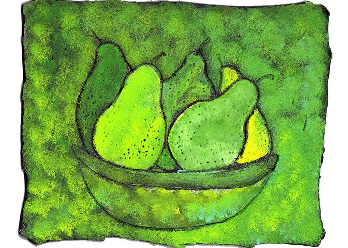 Greem. Pears Greeting Card featuring the painting Green Pears by Wayne Potrafka
