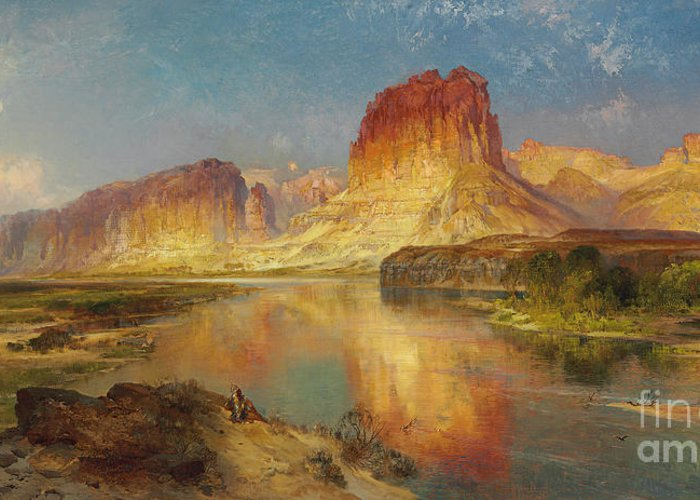 American Painting; American; Landscape; Castle Rock; Formation; Cliffs; Rocks; Reflection; Peaceful; Tranquil; Calm; Green River Of Wyoming Greeting Card featuring the painting Green River Of Wyoming by Thomas Moran