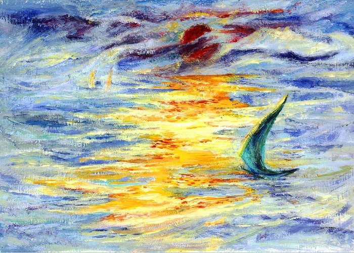 Sail Greeting Card featuring the painting Green Sail At Sunset by Lily Hymen