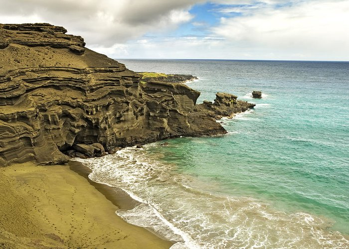 Green Sand Beach Greeting Card featuring the photograph Green Sand Beach On Hawaii by Brendan Reals