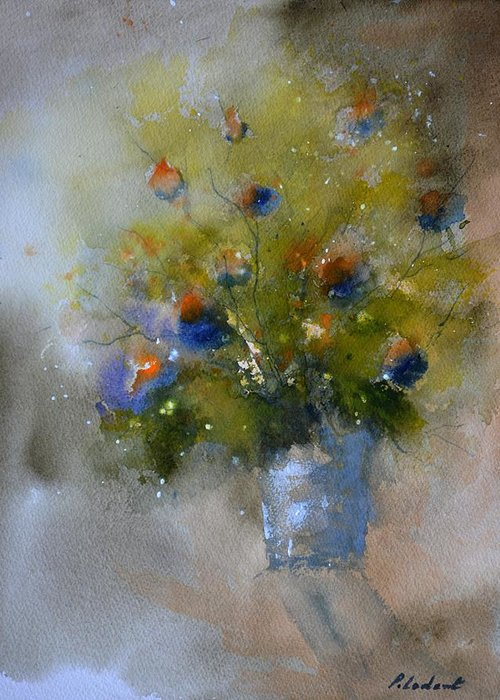 Still Life Greeting Card featuring the painting Green Still Life by Pol Ledent