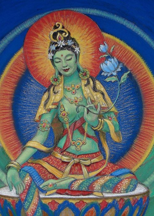 Green Tara Greeting Card featuring the painting Green Tara by Sue Halstenberg