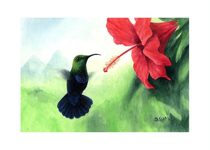 Chris Cox Greeting Card featuring the painting Green-throated Carib Hummingbird And Red Hibiscus by Christopher Cox